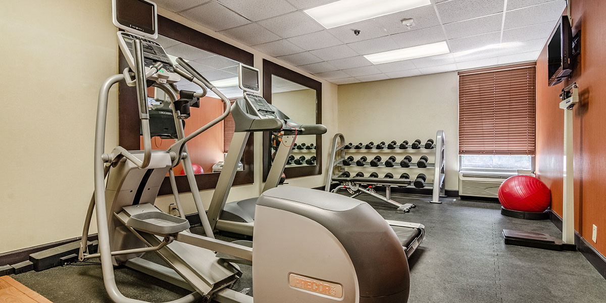 Exercise bikes and weights in a fitness center