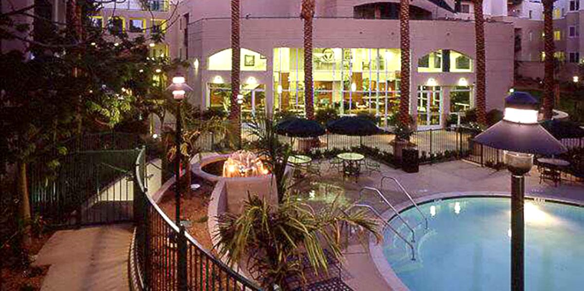 Luxurious hotel pool at dusk